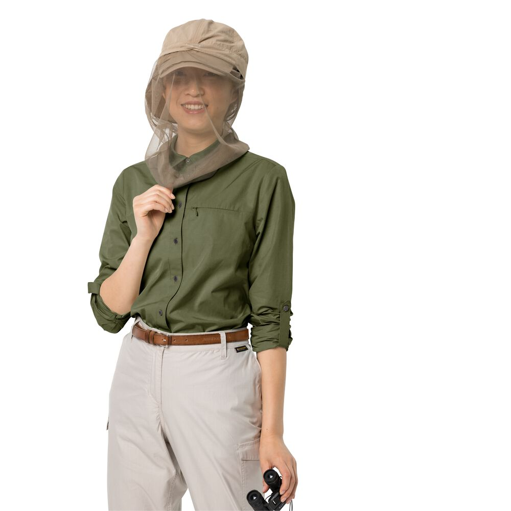 Image of Jack Wolfskin Bluse Frauen Lakeside Roll-up Shirt Women S braun light moss