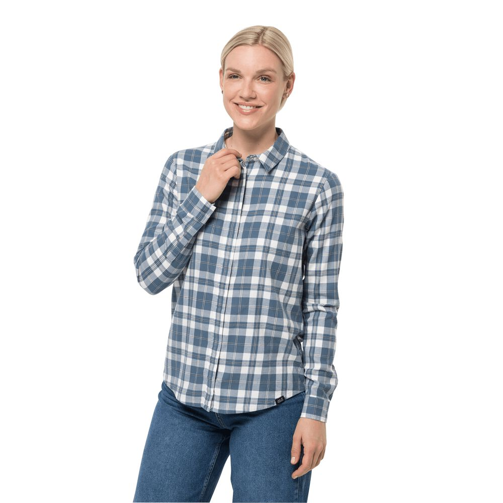 Image of Jack Wolfskin Baumwoll-Flanellhemd Frauen Carson Shirt Women M frost blue checks frost blue checks