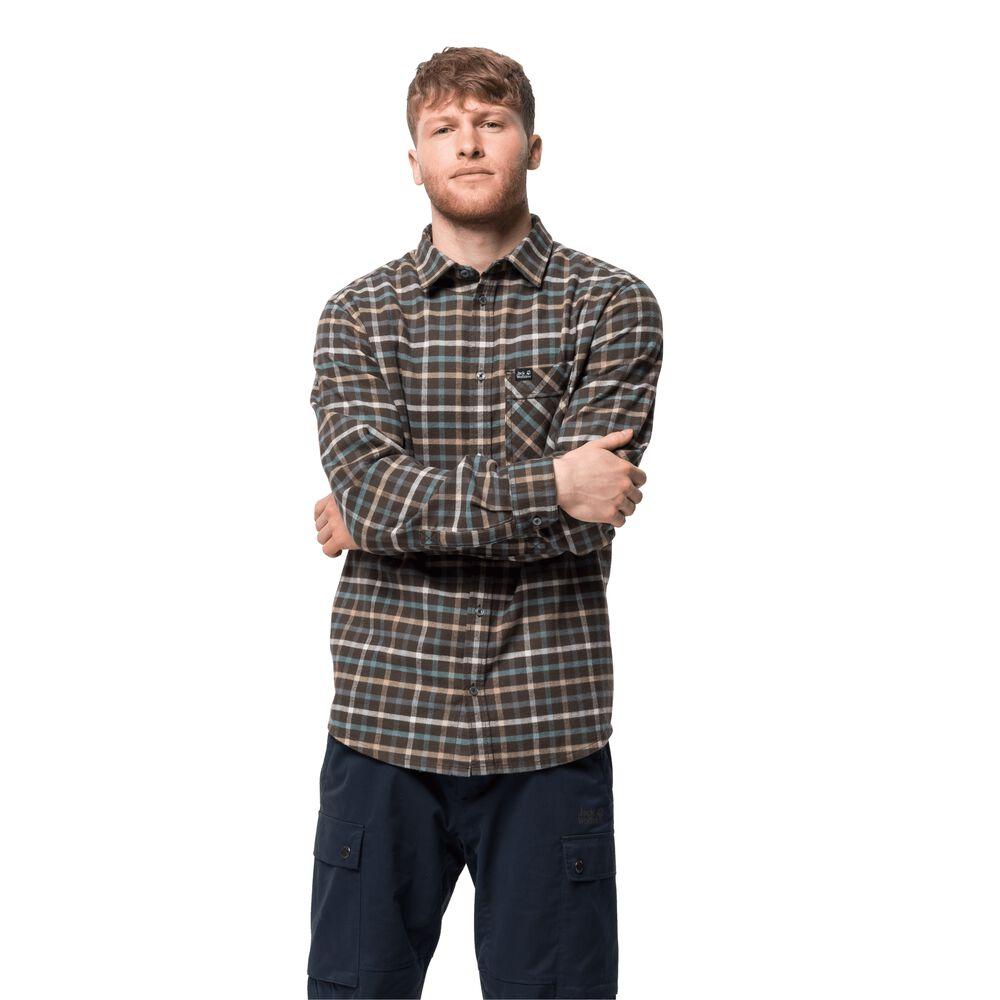 Image of Jack Wolfskin Bio-Baumwoll-Hemd Männer Fraser Island Shirt 3XL braun brownstone checks