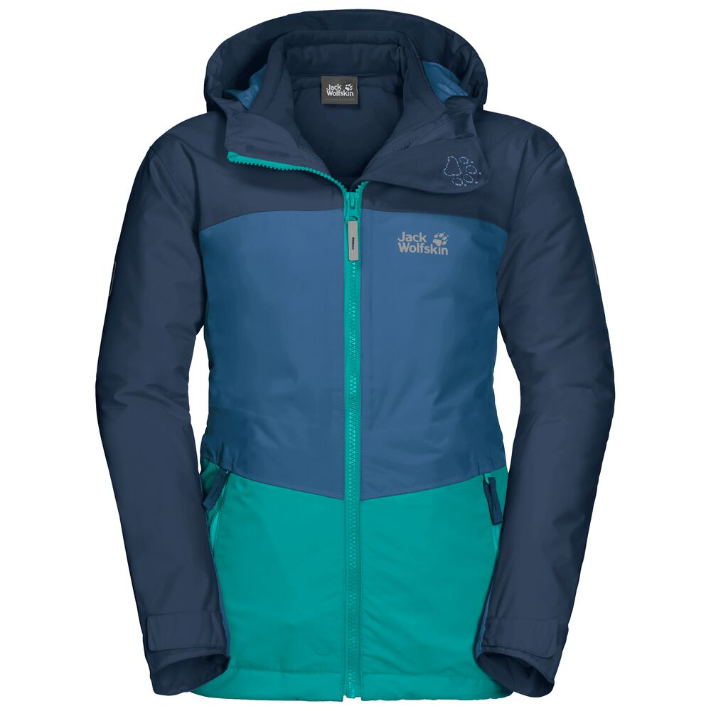 Image of Jack Wolfskin 3-in-1 Hardshell Kinder Argon Ice 3in1 Jacket Kids 128 grün green ocean