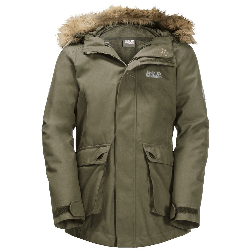 Image of Jack Wolfskin 3-in-1 Hardshellparka Mädchen Girls ELK Island 3in1 Parka 128 grün burnt olive