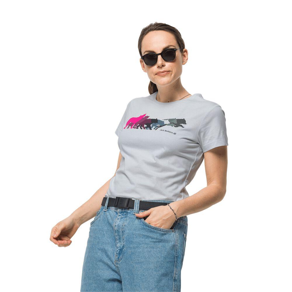Image of Jack Wolfskin Bio-Baumwoll-T-Shirt Frauen Rainbow Wolf T-Shirt Women M weiß white cloud