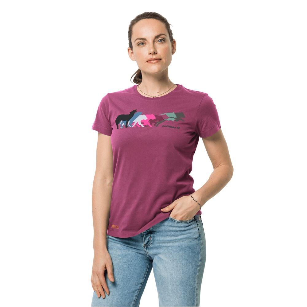 Image of Jack Wolfskin Bio-Baumwoll-T-Shirt Frauen Rainbow Wolf T-Shirt Women M violett violet quartz