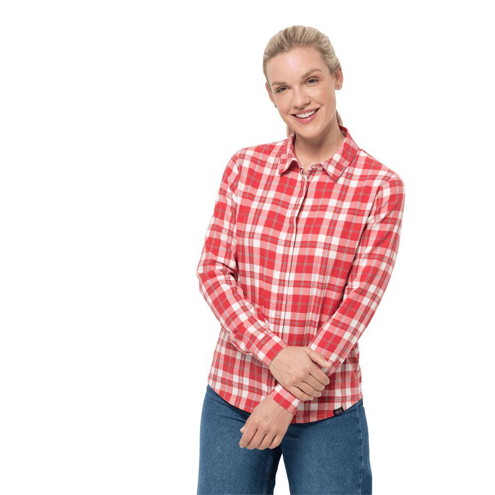 Image of Jack Wolfskin Baumwoll-Flanellhemd Frauen Carson Shirt Women S coral red checks coral red checks