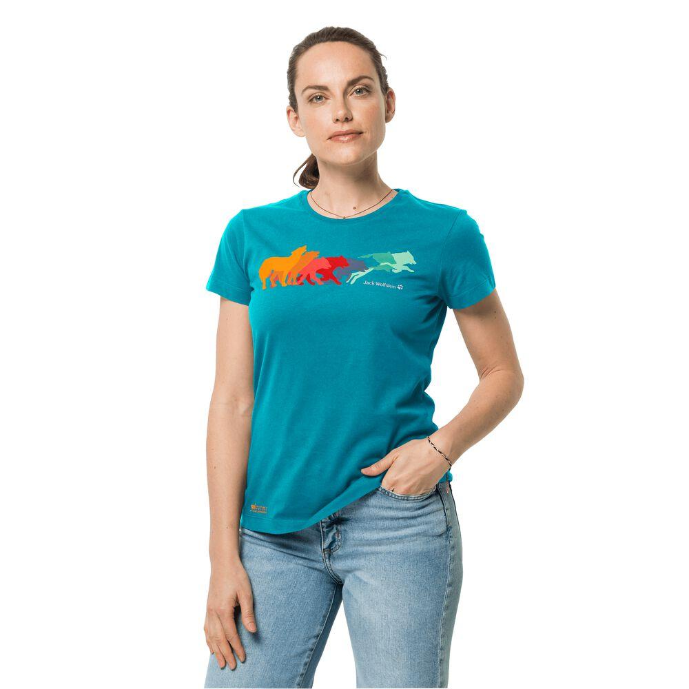 Image of Jack Wolfskin Bio-Baumwoll-T-Shirt Frauen Rainbow Wolf T-Shirt Women L blau dark cyan